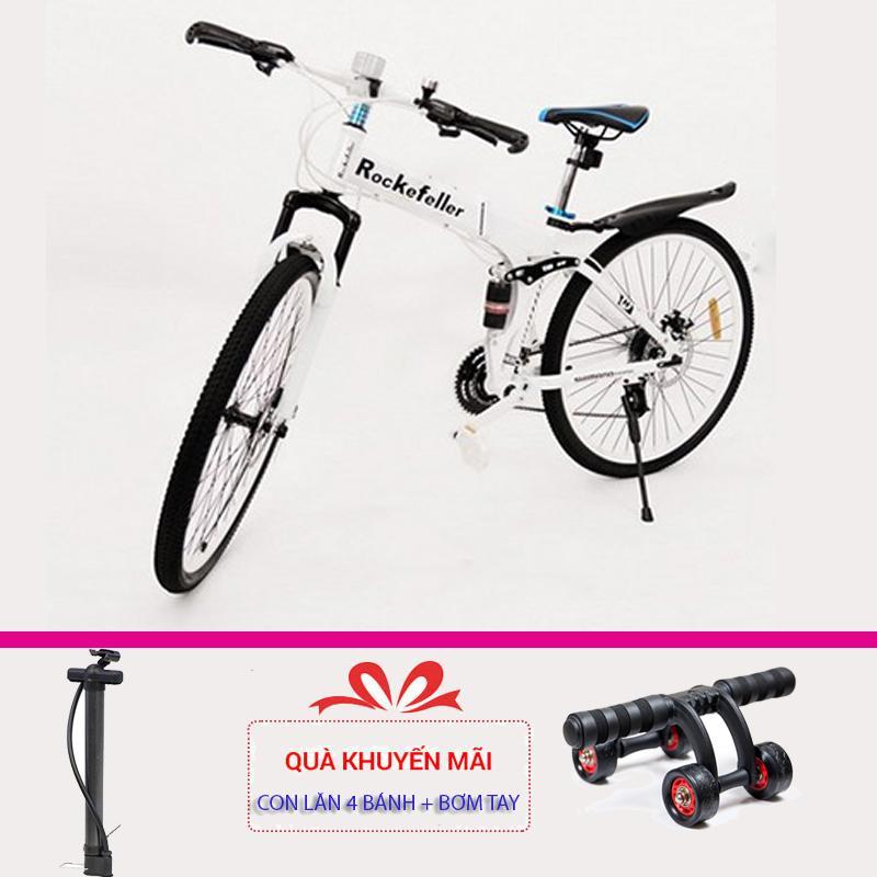 Xe đạp thể thao gấp gọn Rockefeller (Màu trắng) + Tặng con lăn tập cơ bụng 4 bánh