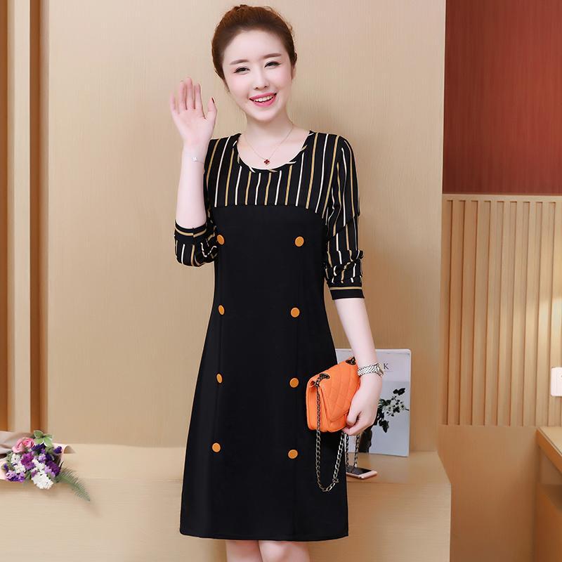 2017 musim gugur Gaya Korea model baru adik perempuan gemuk kerah bulat  motif garis model setengah 583c50107e