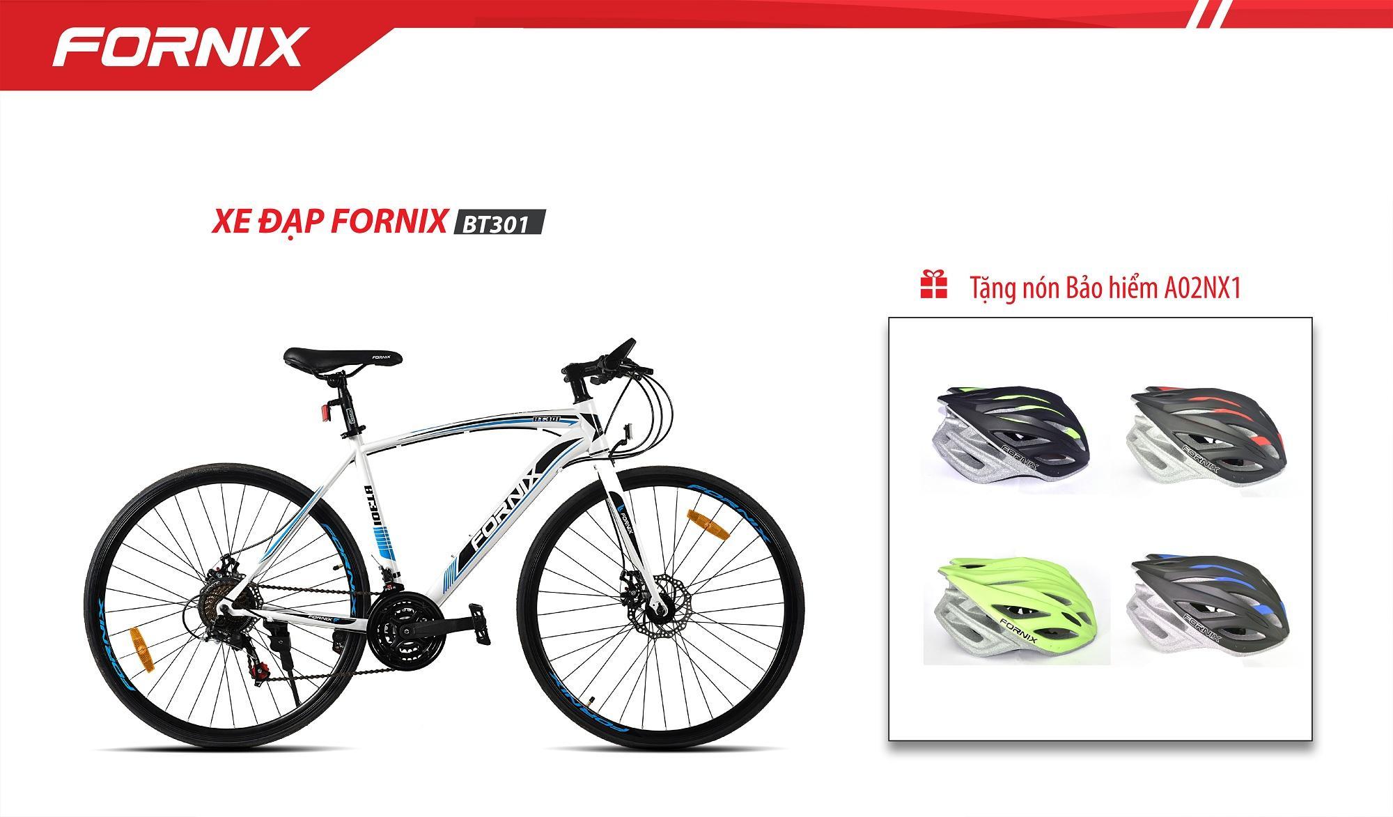 Xe đạp thể thao FORNIX - BT301 ( trắng xanh ) + tặng nón bảo hiểm A02NX1-N
