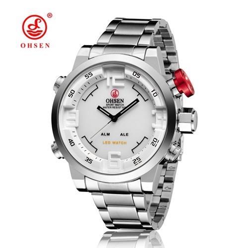 OHSEN AD1608 Original Fashion Brand OHSEN Military Sports Watch Men Alloy Case Quartz Digital Watch Waterproof