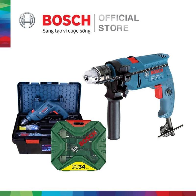 Máy khoan động lực Bosch GSB 550 FREEDOM - Tặng bộ phụ kiện FREEDOM 90 chi tiết và tặng Bộ Mũi Khoan 34 Chi Tiết