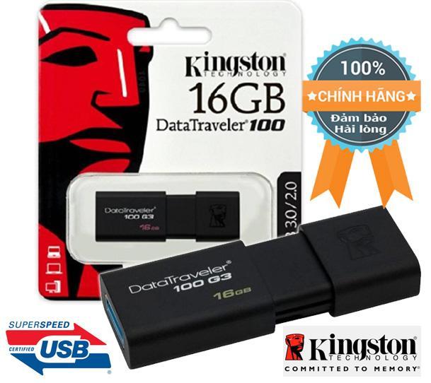 Thiết bị lưu trữ siêu tốc Kingston 16GB DataTraveler 100 G3 chuẩn 3.0 40MB/s (màu đen)