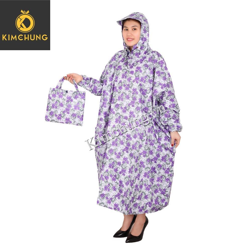 Áo mưa đi xe máy không xẻ tà, vải dù cao cấp - Áo mưa nữ thời trang (mẫu bông)