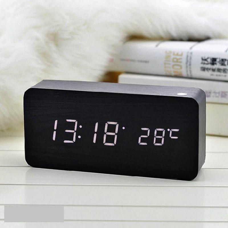 Đồng Hồ Gỗ Báo Thức Hình Chữ Nhật Wood LED Digital Desk Alarm bán chạy