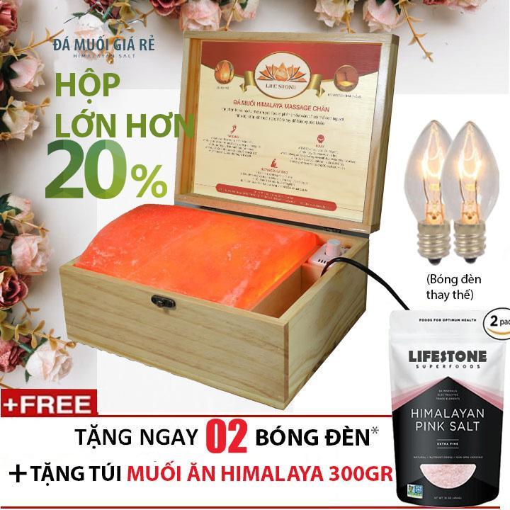 Hình ảnh Hộp đèn đá muối Himalaya mặt cong massage chân nhập khẩu trực tiếp (Loại 1)