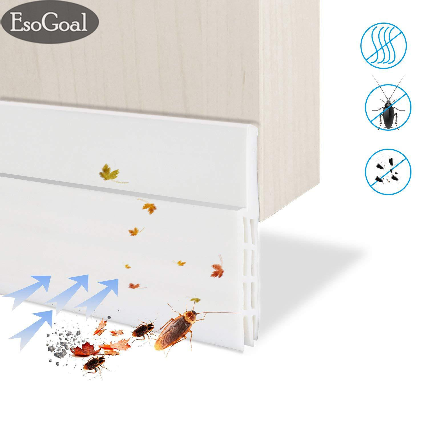 Esogoal Door Bottom Seal Strip Adhesive Under Door Silicone Sweep Weather Stripping Under Door Draft Stopper Rubber Strip Door Block Seal Noise Reduction Dustproof Weatherstrip By Esogoal