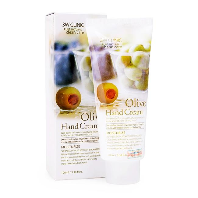 khuyen mai kem duong am da tay 3w clinic olive hand cream 100ml gia re