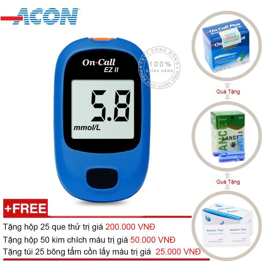 Hình ảnh Máy đo đường huyết Acon On call EZ 2 (Xanh) + Tặng hộp 25 que thử + Tặng hộp 50 kim chích máu + Tặng túi 25 bông tẩm cồn lấy máu