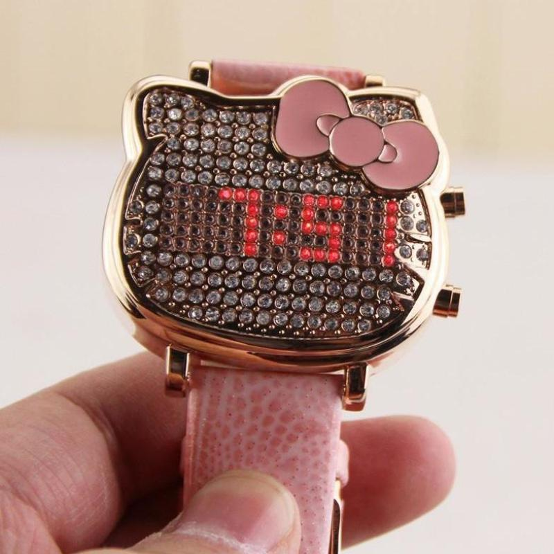 A generation of hello kitty watch kt cat diamond led spot electronic digital display girl watch Malaysia