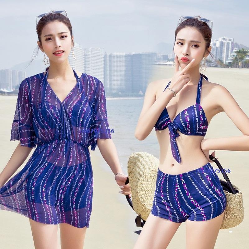 Nơi bán Bộ bơi 3 chi tiết bikini kèm áo choàng chất thun đẹp