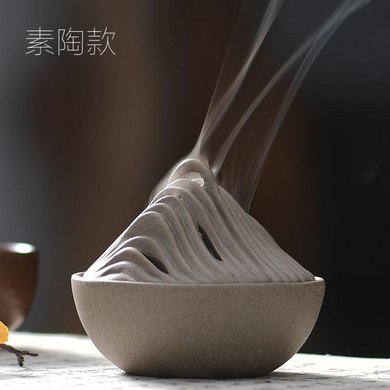Gong de fang Ceramic Incense Burner Household Creative Zen Incense Holder Snnei Purification Air Vintage Sandalwood Plate Censer