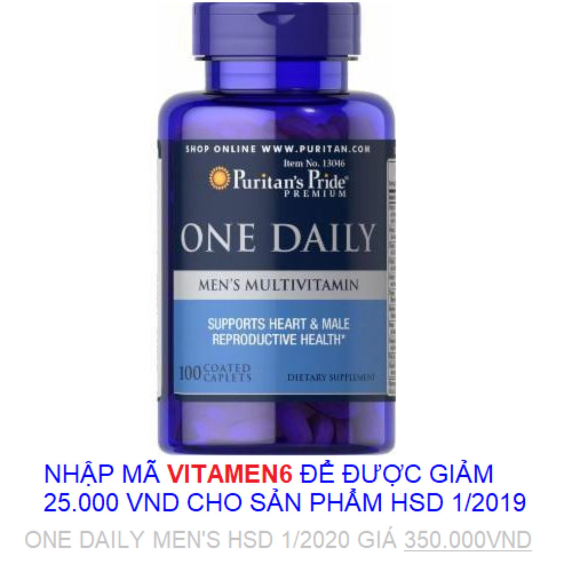 Hình ảnh Tăng cường sức khỏe cho nam giới Vitamin và khoáng chất cho nam giới Puritan's Pride One Daily Men's Multivitamin 100 viên