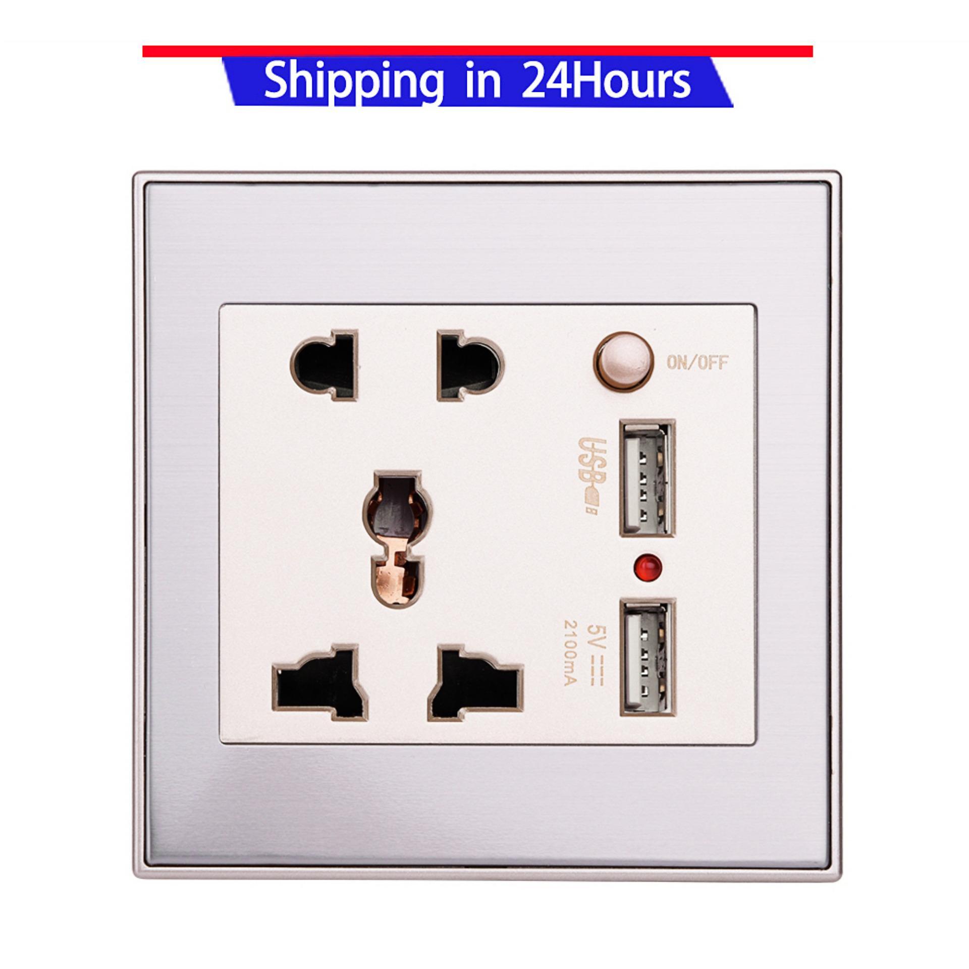 Hình ảnh 10A Đa Năng Dual USB Ổ điện Bảng AC 110-265 v Ổ Cắm Sạc Điện có Công Tắc thay thế chất liệu silicone dùng cho Đồng Hồ thông minh apple iwatch series 1 series 2