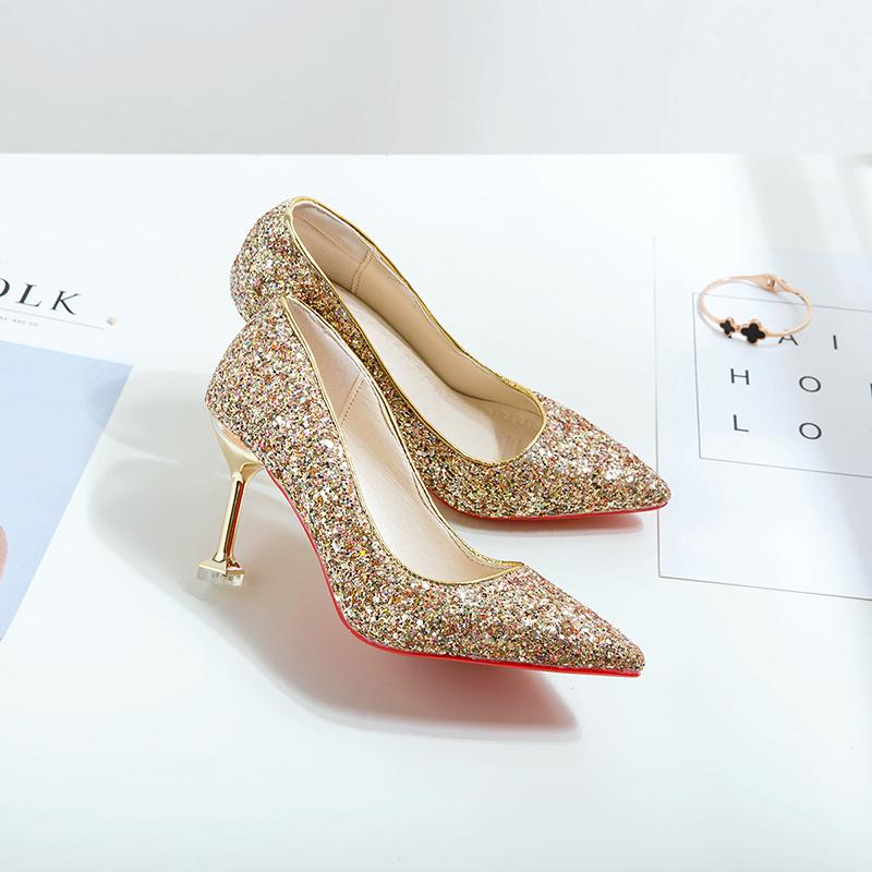 2019 New Style Korean Style Versatile Silver Sequin Wedding Shoes Cat With High Heel Shoes Shallow Mouth Pointed Thin Heeled Shoes Nv Chun By Taobao Collection.
