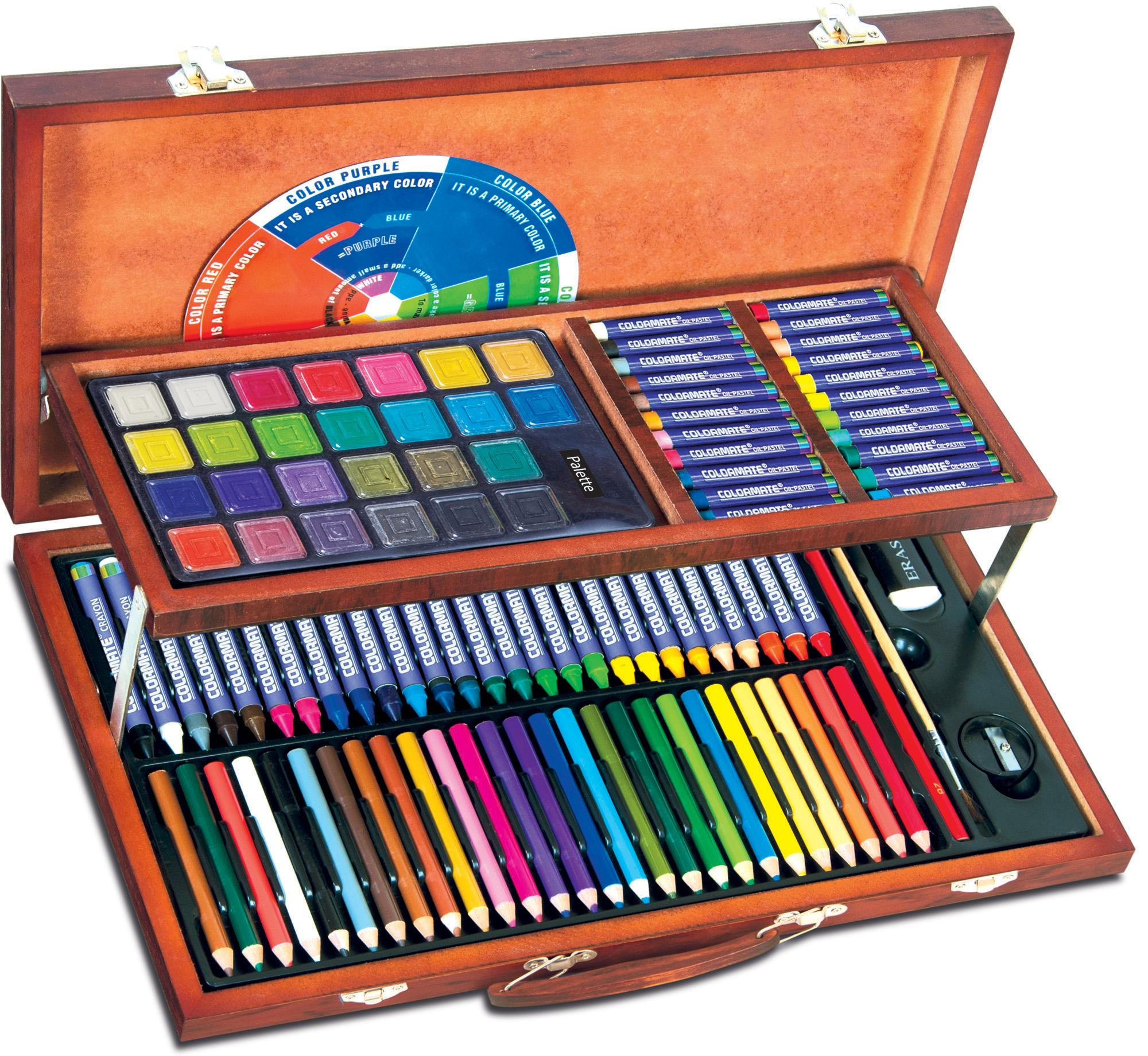 Hình ảnh Bộ màu vẽ đa năng hộp gỗ Colormate MS-111W