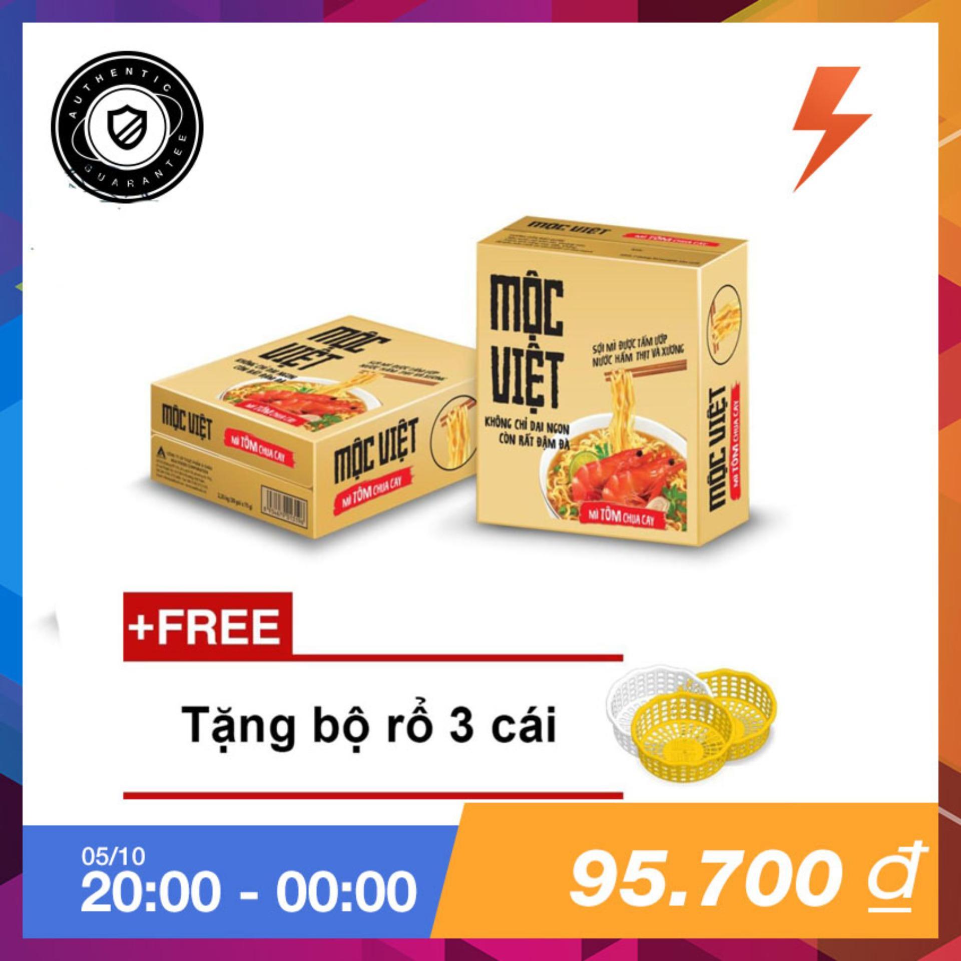 Giá Bán Thung 30 Goi Mi Mộc Việt Vị Tom Chua Cay Tặng Bộ Rổ 3 Cai Mộc Việt Nguyên