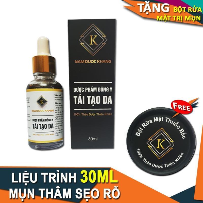 Serum trị Mụn thâm Sẹo rỗ Tàn nhang Nam Dược Khang - Chai 30ml ( Tặng Bột Rửa Mặt )