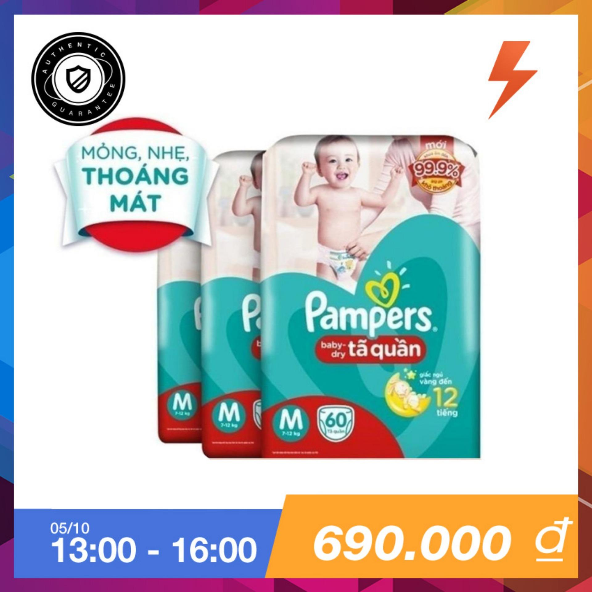 Bán Bộ 3 Ta Quần Pampers Size M 60 Miếng 7 12Kg Pampers Trực Tuyến