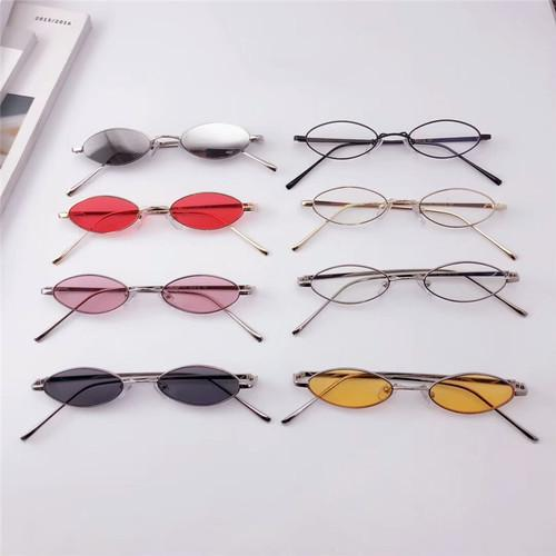 Kacamata Antik Lonjong Anggun Retro Bingkai Logam Kacamata Hitam Pria Transparan Warna Merah Kacamata Hitam untuk