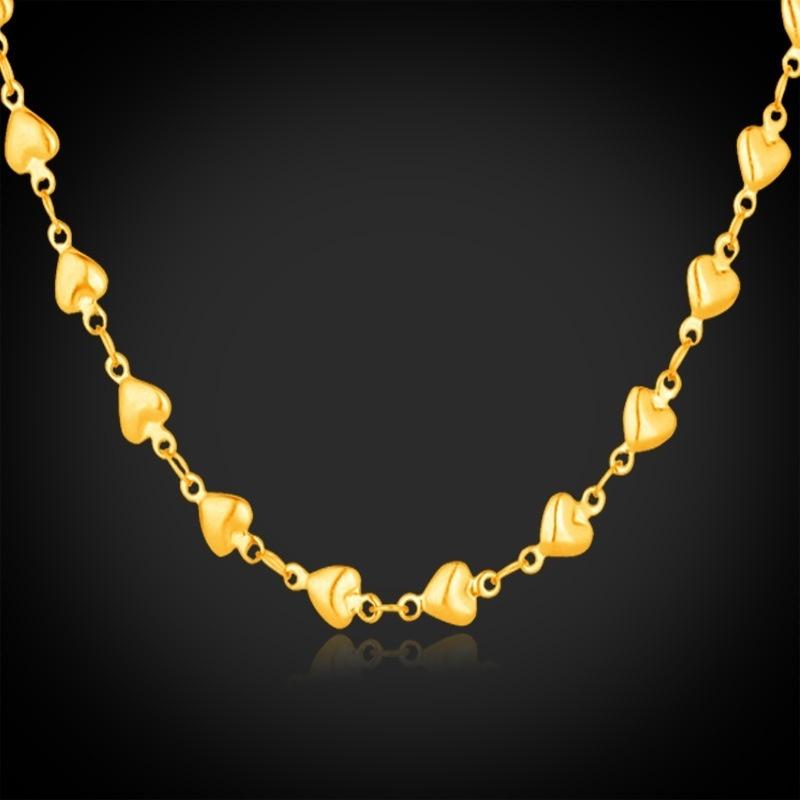 Giới thiệu 7-GN348K 18 k Mạ Vàng Nữ Dễ Thương Dây Chuyền Trái Tim