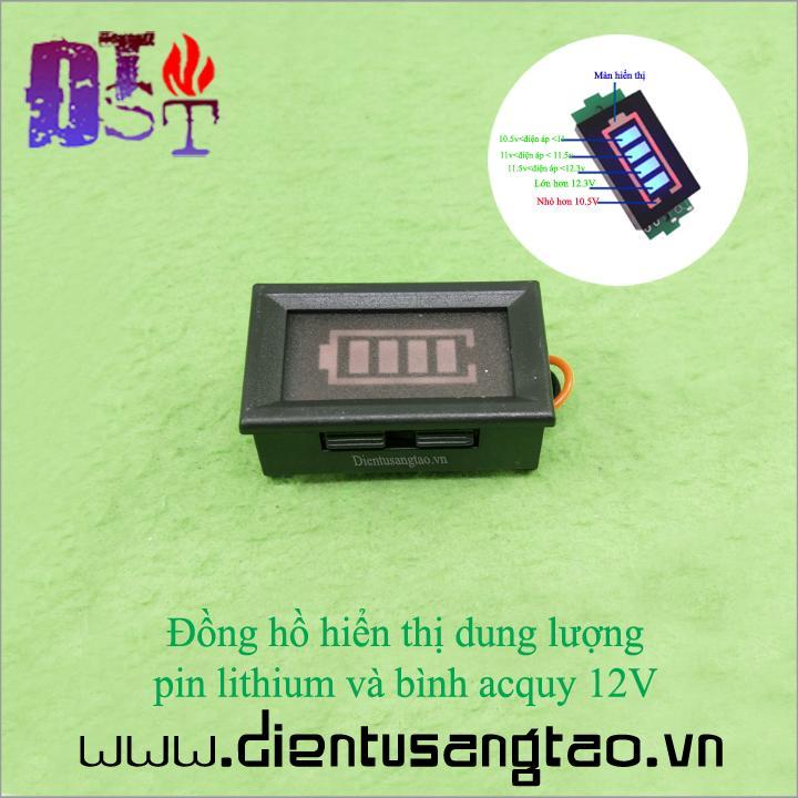 Hình ảnh Đồng hồ hiển thị dung lượng pin lithium và bình acquy 12V