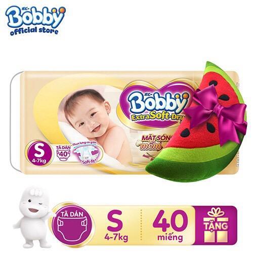 LỰA CHỌN SIZE [Tặng kèm Gối Ôm Hoa Quả hình ngẫu nhiên] Tã Dán Bobby Extra Soft Dry S40/ M34/ L30