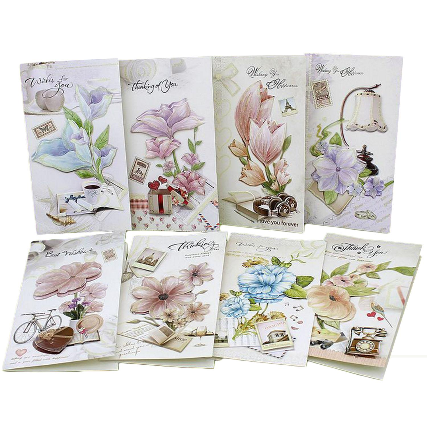 Hình ảnh 8 PCS Assorted Styles Exquisite Flower Greeting Cards Holiday Blessing Cards with Envelops for Christmas Mother's Day Birthday Thanksgiving Day - intl