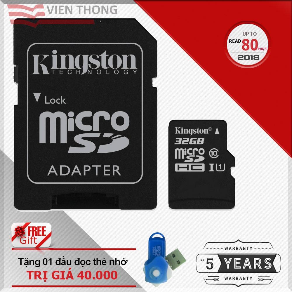 Chiết Khấu Bộ Thẻ Nhớ 32Gb Kingston Tốc Độ Cao Up To 80Mb S Micro Sdhc Class10 Uhs1 Va Adapter Đen Tặng 1 Đầu Đọc Thẻ Nhớ Micro Pt Hồ Chí Minh