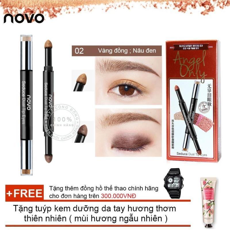 Bút nhũ nhấn mắt 2 đầu Novo Eyeliner Eyeshadows 5148 + Tặng tuýp kem dưỡng da tay hương thơm thiên nhiên ( Đơn hàng mỹ phẩm trên 300k tặng thêm 1 đồng hồ thể thao như quảng cáo )