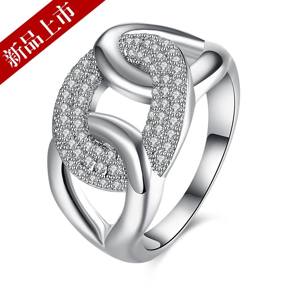 Cincin Sederhana dan bergaya cincin emas putih Kristal zirkon perhiasan grosir Global satu generasi