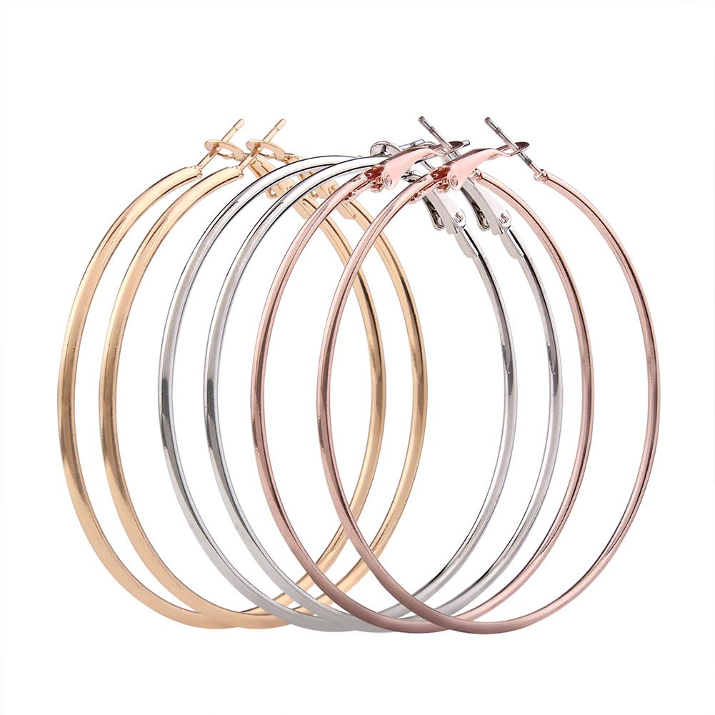 Big Sale 3 Pairs Women Fashion Simple Big Round Circle Earrings Smooth Alloy Earrings (golden + Silver + Rose Gold) By Four Season Big Sale.
