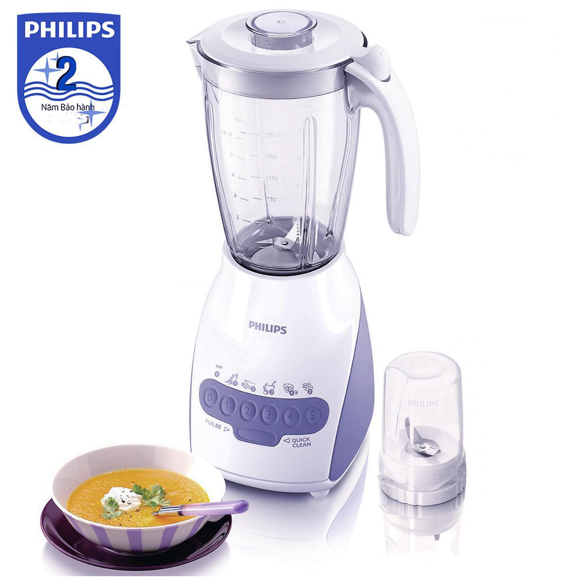Hình ảnh Máy xay sinh tố Philips HR2115 2L (Trắng) - Hàng nhập khẩu