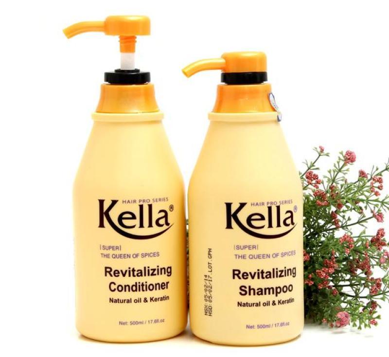 Combo dầu gội + dầu xả Kella phục hồi tóc hư hại (500ml/chai) Vàng