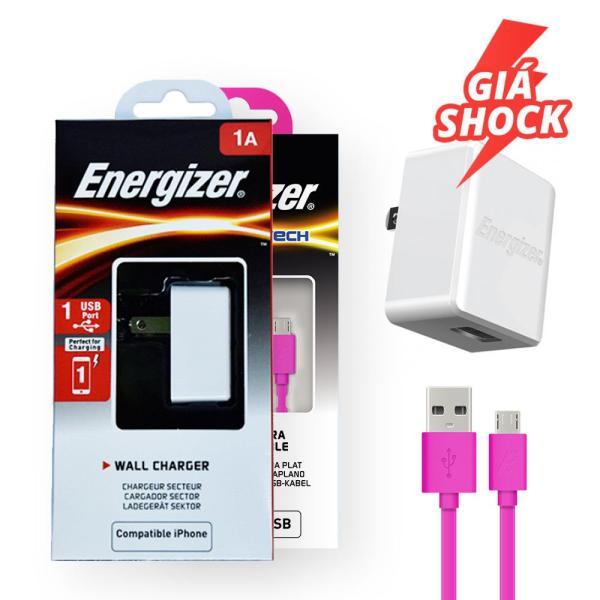 Sạc Energizer CL 1A 1 cổng màu trắng_ACA1AUSCWH3  kèm Cáp Energizer HT Flat USB Micro 1.2m màu hồng - C21UBMCGPK4
