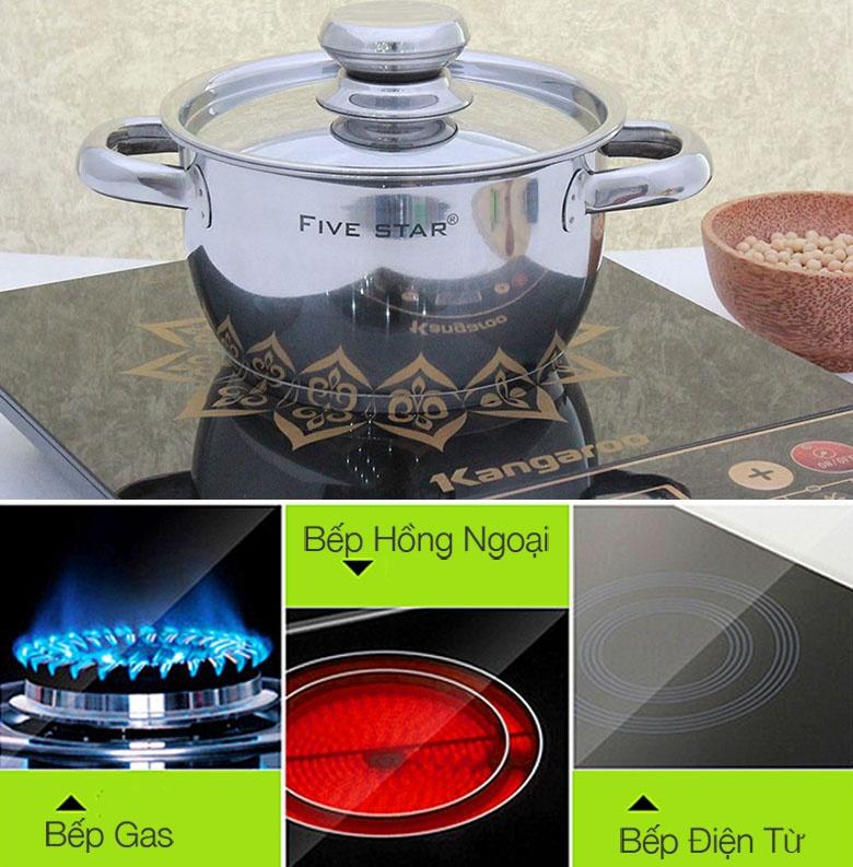 Bộ 3 nồi inox nắp inox Fivestar FS06C-1 sử dụng được trên bếp từ, bếp hồng ngoại và bếp gas.