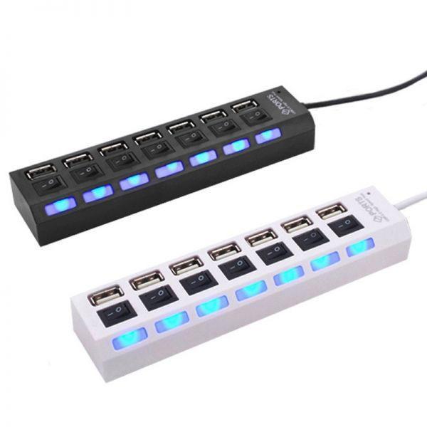 Hình ảnh Hub USB chia 7 port có công tắc riêng cho từng cổng và đèn báo