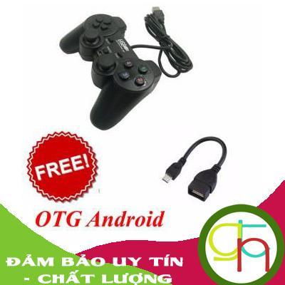 Tay cầm chơi game PC, Mac gamepad có 2 joystick + Cáp OTG Android