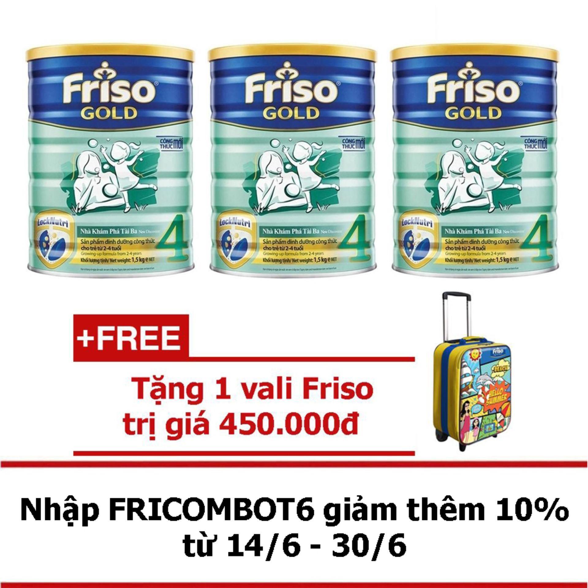 Hình ảnh Bộ 3 Sữa bột Friso Gold 4 1.5kg + Tặng 1 vali Friso trị giá 450.000đ