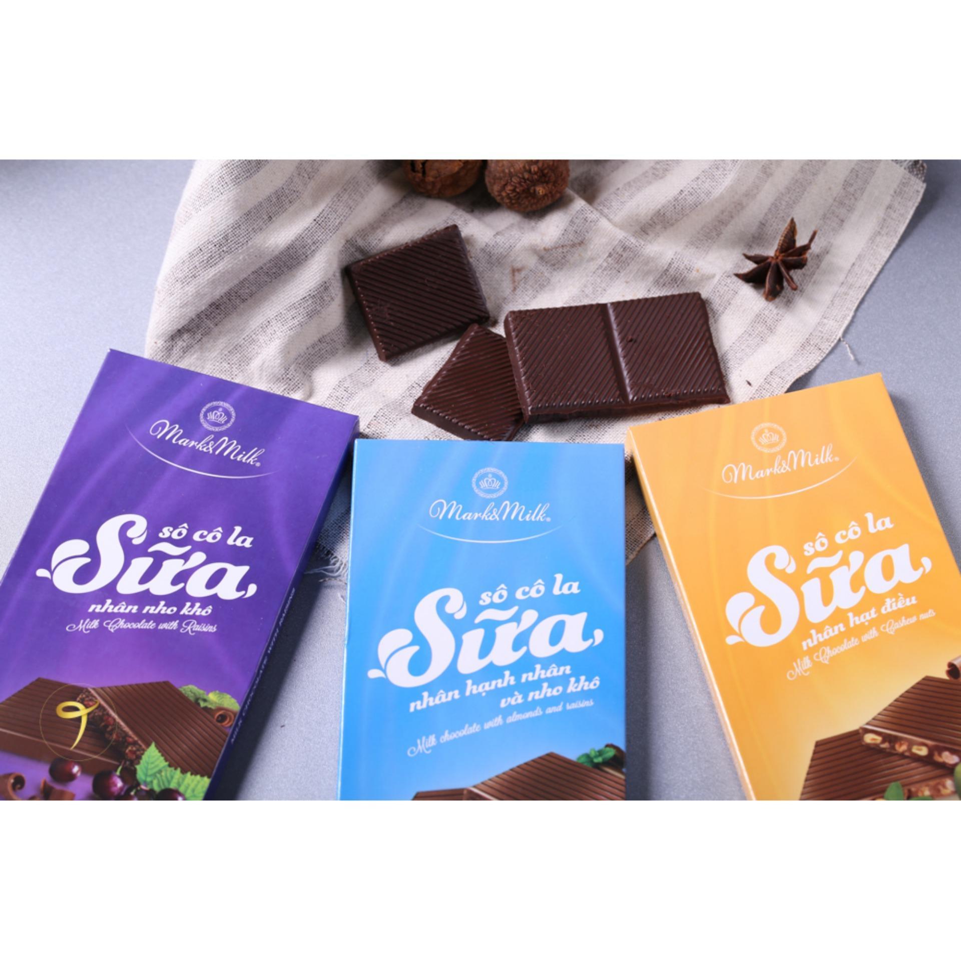 Hình ảnh Socola nhân hạnh nhân và nho khô thanh 100g | Mark & Milk Chocolate