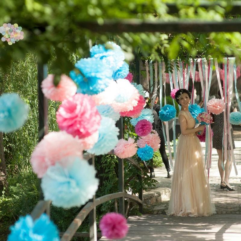 Hình ảnh Tú Cầu Giấy Trang Trí Sinh Nhật Tiệc Tùng - Cầu Bông Trang Trí