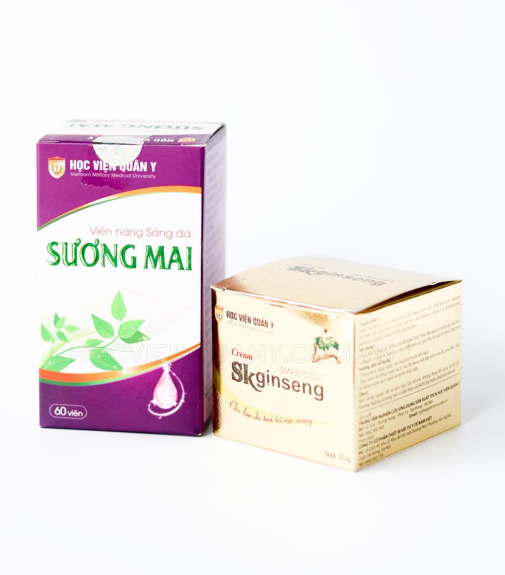Combo 1 hộp kem dưỡng da skginseng và 1 hộp sáng da Sương Mai Học Viện Quân y