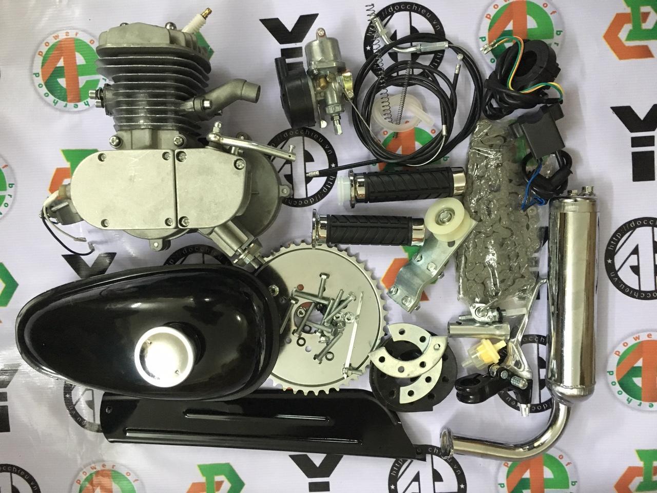 Hình ảnh động cơ gắn xe đạp chạy xăng, động cơ xăng 2 thì chế xe đạp 60cc