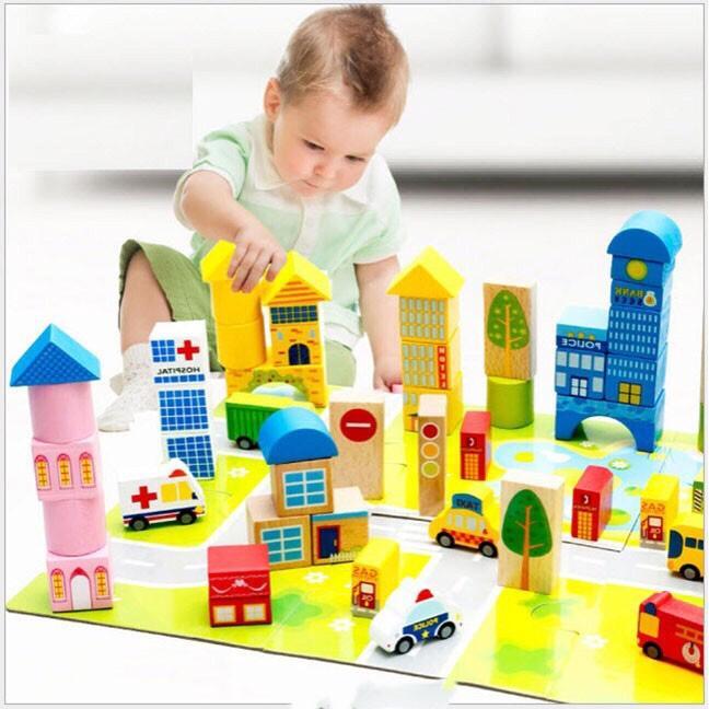 Hình ảnh Bộ đồ chơi xếp hình gỗ thành phố 62 chi tiết