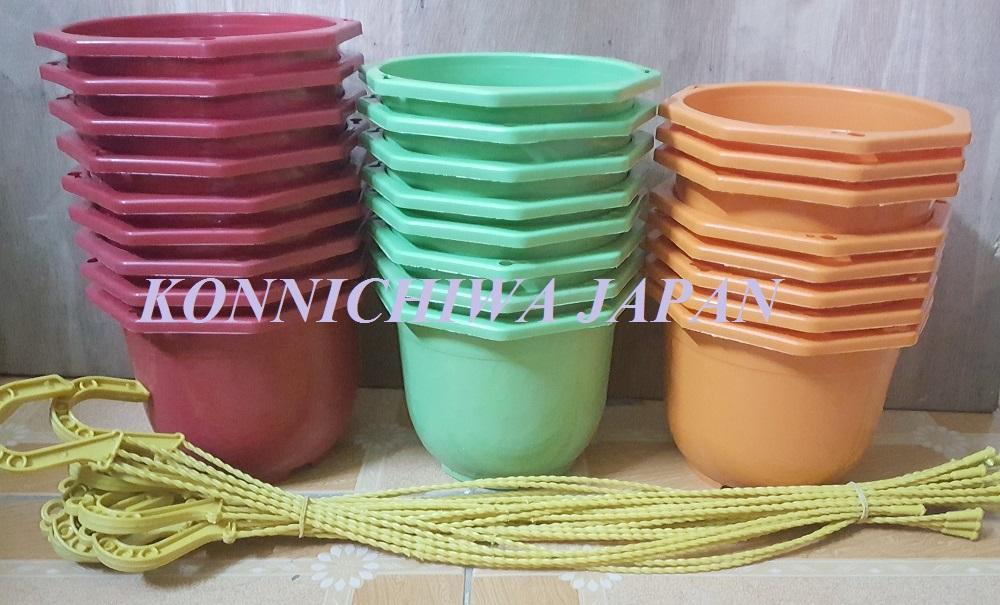 10 chậu nhựa treo trồng hoa cây cảnh bằng nhựa ABS 15cm (nhiều màu)