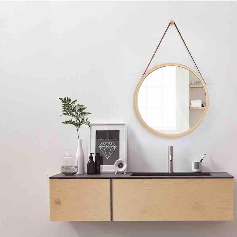 Gương dây da treo tường, Gương tròn dây da GT1001