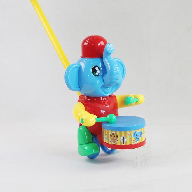 Hình ảnh Đồ chơi xe đẩy voi đánh trống (xanh) - Bibo 222