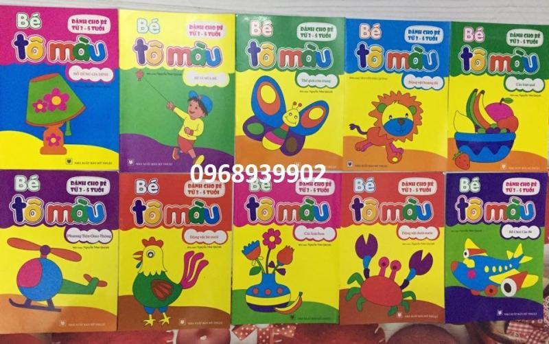 Mua Combo 10 quyển sách tô màu cho bé 3-5 tuổi + Tặng 1 hộp sáp 12 màu