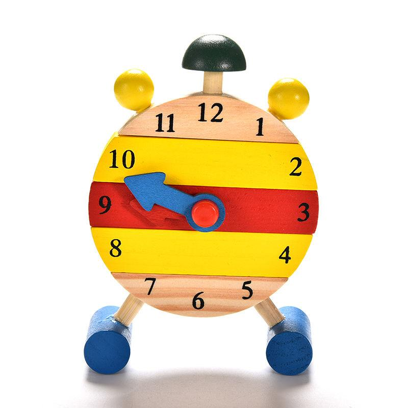 Hình ảnh Blocks Early Learning Building Educational Wooden Clock Toy Time Clock Children's Educational Toys - intl