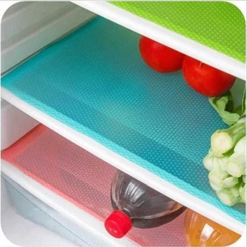 Hình ảnh 4 cái/bộ 30 cm * 44 cm Thời Trang Tủ Lạnh Miếng Lót Kháng Khuẩn Chống Mùi Nấm Mốc Chống Ẩm Miếng Lót Tủ Lạnh Chống Thấm Nước-quốc tế