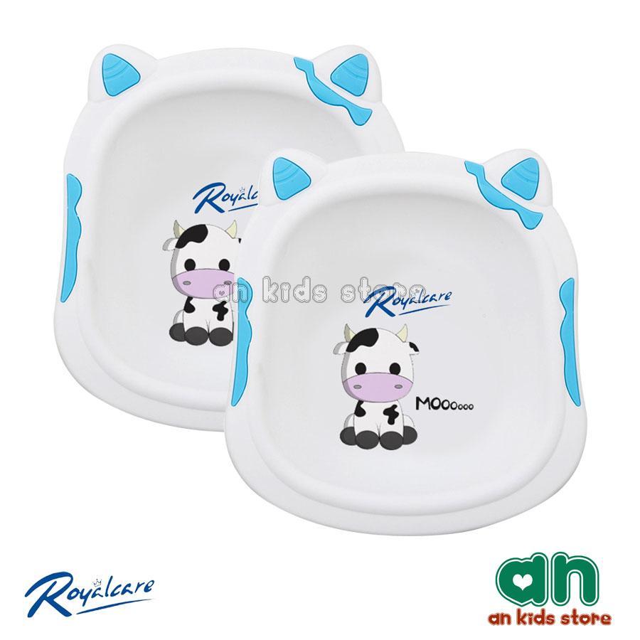Combo 2 Chậu Rửa Mặt Trẻ Em In Hình Bò Sữa Royalcare - Hàng Chính Hãng By An Kids Store.